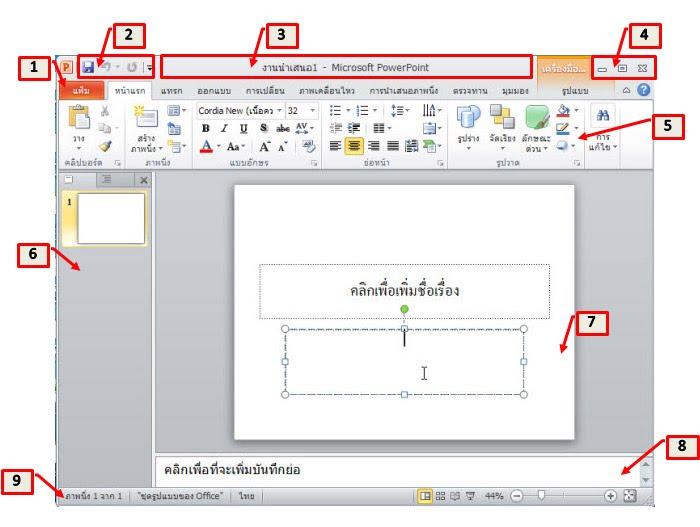 ปุ่ม แถบ เมนู ในการสร้าง สไลด์ PowerPoint